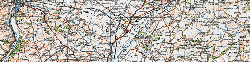 Old map of Willand in 1919