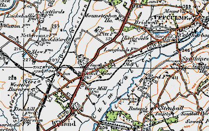 Old map of Willand Moor in 1919
