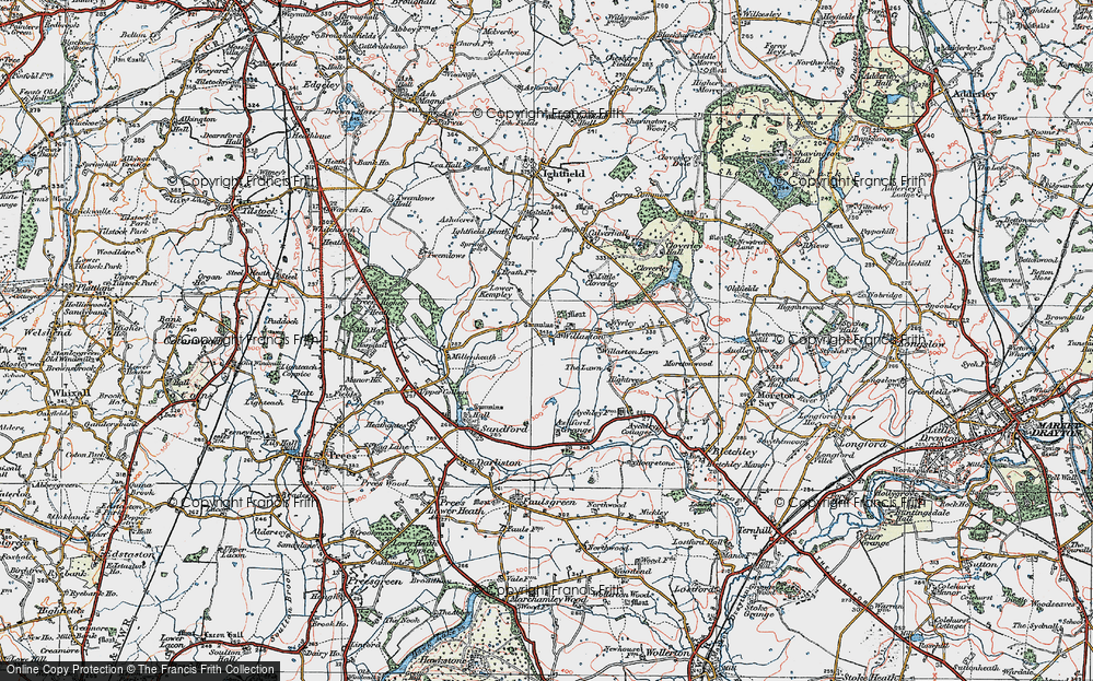 Old Map of Historic Map covering Lawn Cottage in 1921