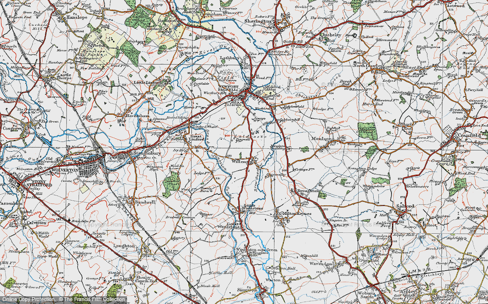 Old Map of Willen, 1919 in 1919