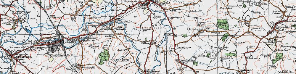Old map of Willen in 1919