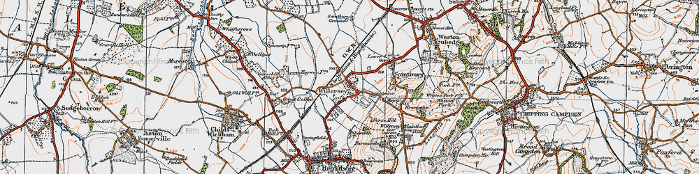 Old map of Willersey in 1919