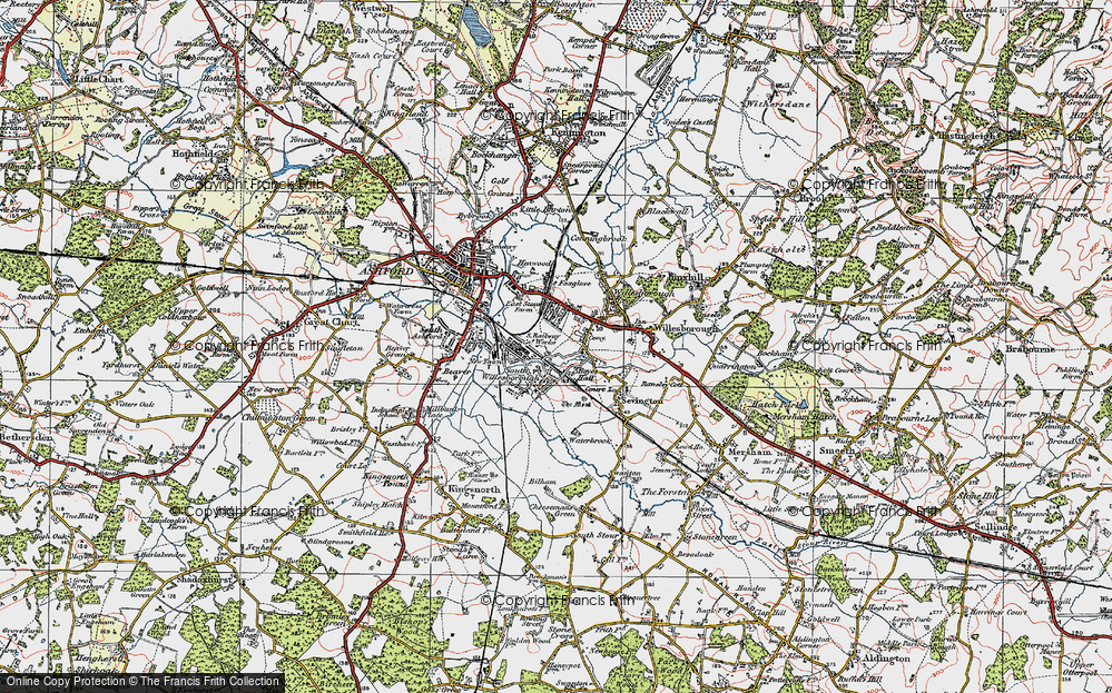 Old Map of Willesborough, 1921 in 1921