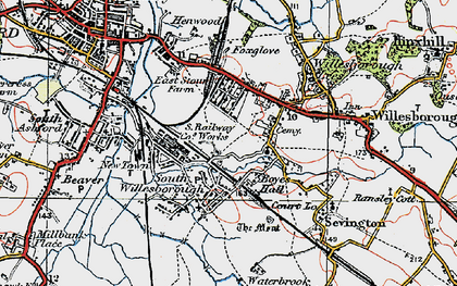 Old map of Willesborough in 1921