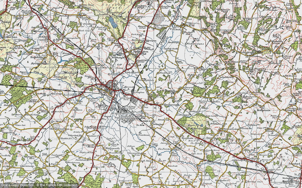 Old Map of Willesborough Lees, 1921 in 1921
