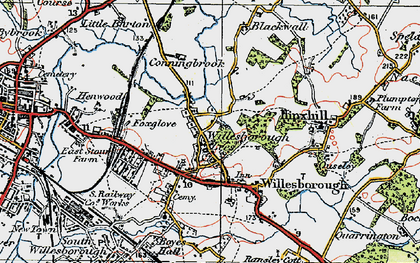 Old map of Willesborough Lees in 1921