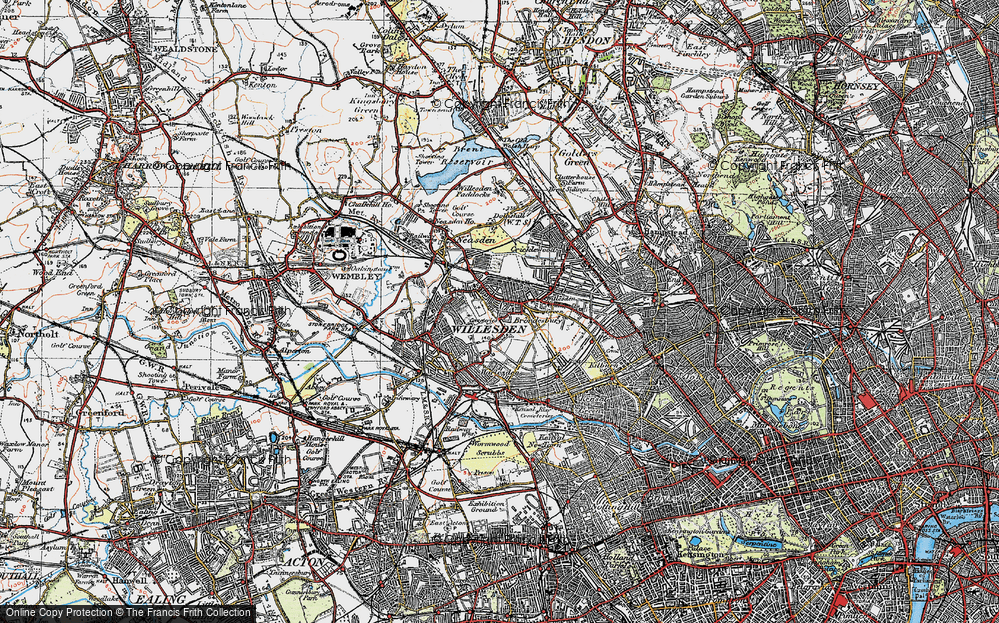 Old Map of Willesden, 1920 in 1920