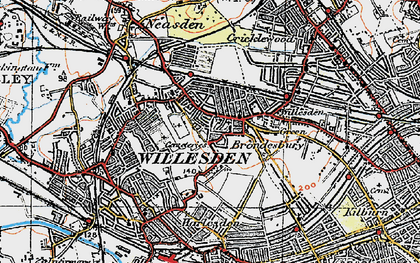 Old map of Willesden in 1920