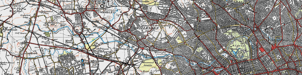 Old map of Willesden Green in 1920
