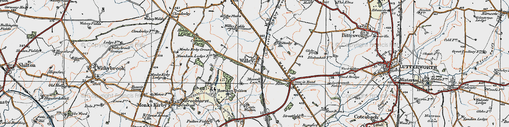 Old map of Willey in 1920