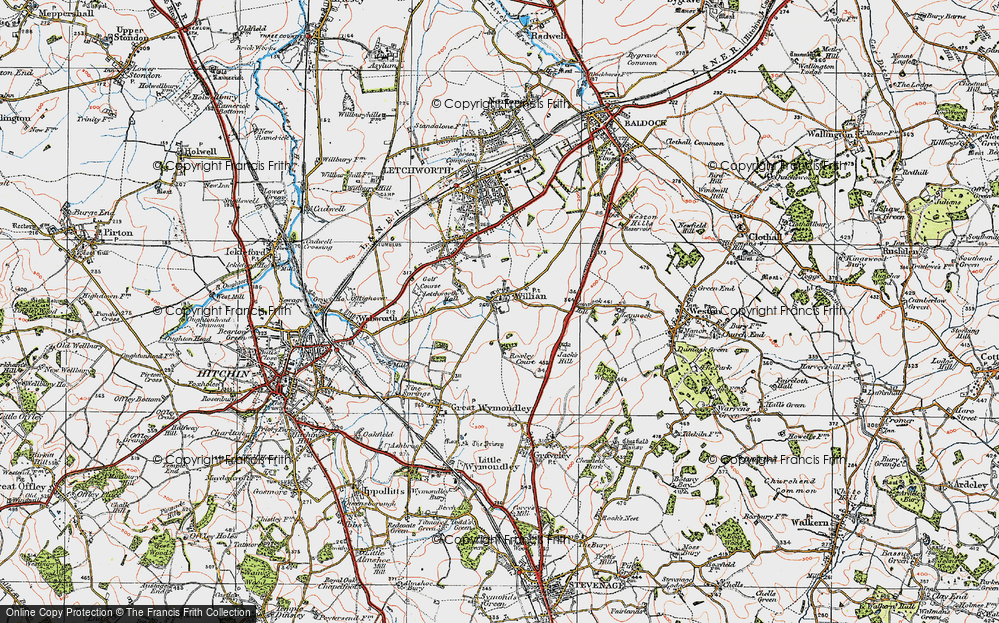 Old Map of Willian, 1919 in 1919