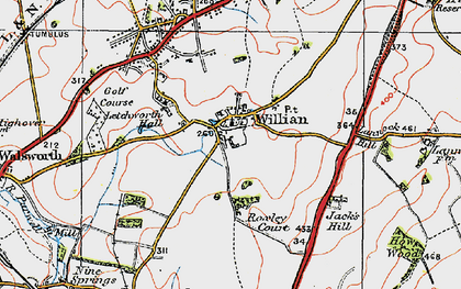 Old map of Willian in 1919