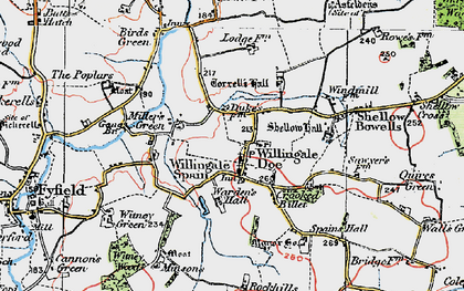 Old map of Willingale in 1919