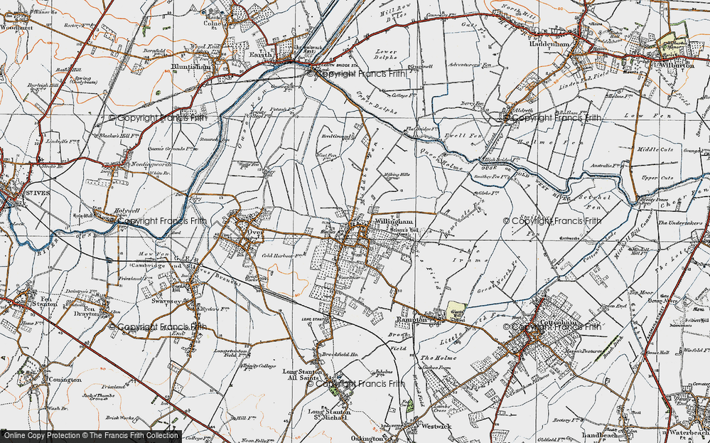 Old Map of Historic Map covering Cambridgeshire in 1920