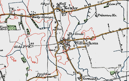 Old map of Willingham by Stow in 1923