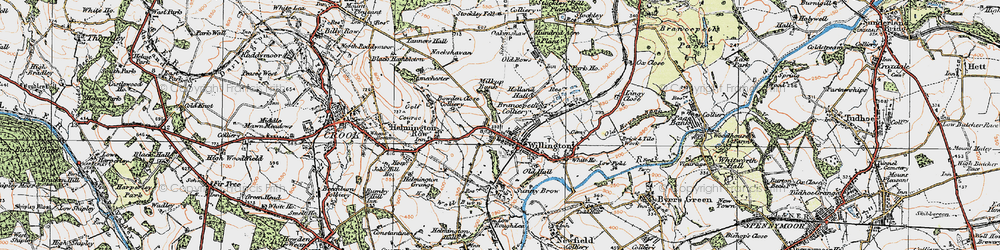 Old map of Willington in 1925