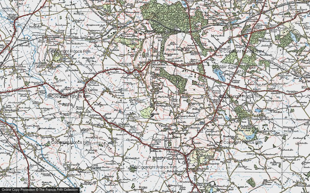 Old Map of Willington Corner, 1923 in 1923