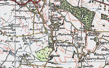 Old map of Willington Corner in 1923
