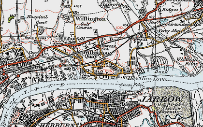 Old map of Willington Quay in 1925
