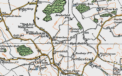 Old map of Willisham in 1921