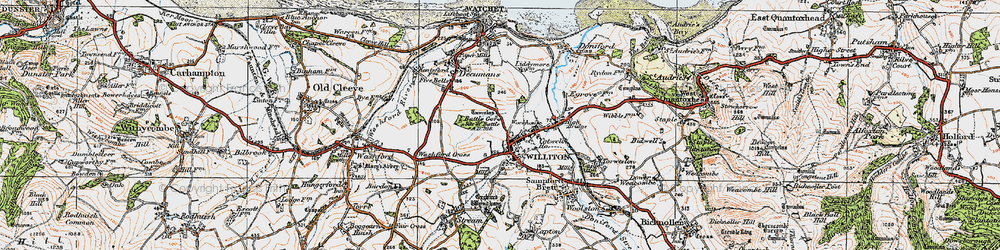 Old map of Williton in 1919