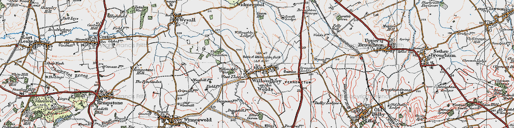 Old map of Willoughby-on-the-Wolds in 1921
