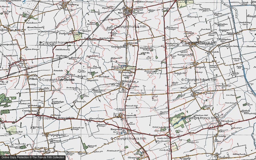 Old Map of Historic Map covering Willoughton Cliff in 1923