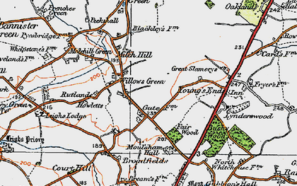 Old map of Willows Green in 1921