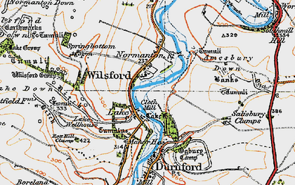 Old map of Wilsford in 1919