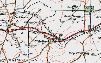 Old map of Wilsford in 1922