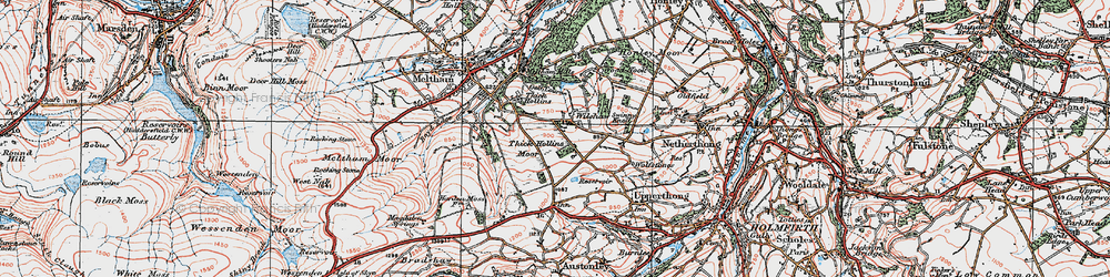 Old map of Wilshaw in 1924