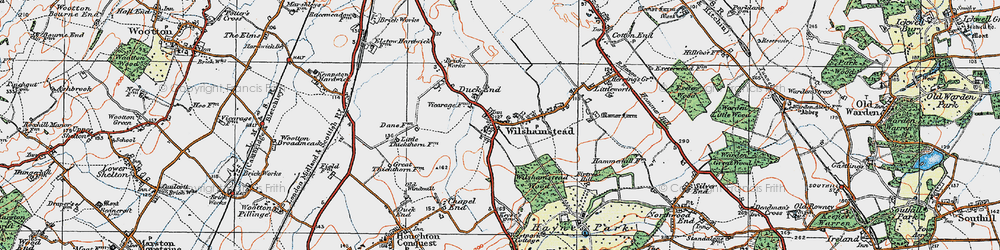 Old map of Wilstead Wood in 1919