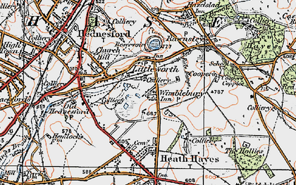 Old map of Wimblebury in 1921