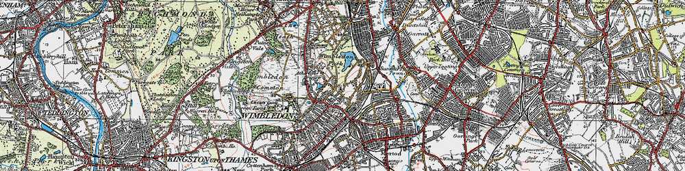 Old map of Wimbledon in 1920