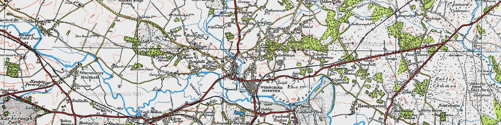 Old map of Wimborne Minster in 1919