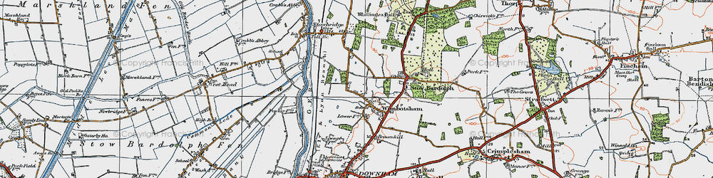 Old map of Wimbotsham in 1922