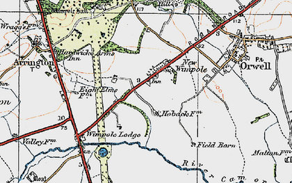 Old map of Wimpole Lodge in 1920