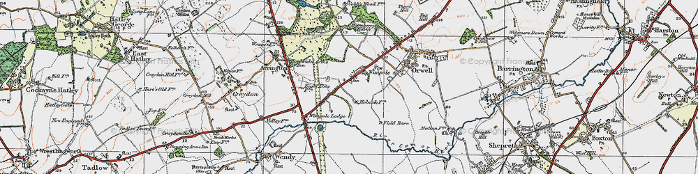 Old map of Wimpole in 1920