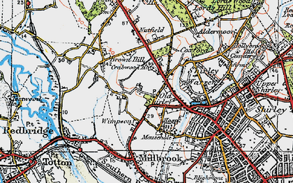 Old map of Wimpson in 1919