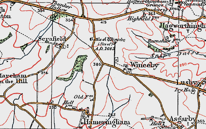 Old map of Winceby in 1923