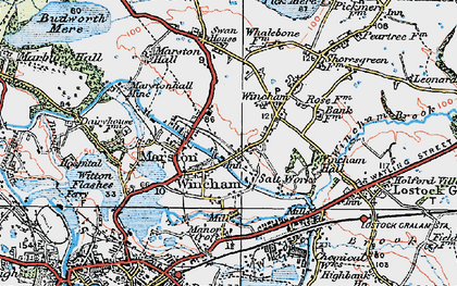 Old map of Wincham in 1923