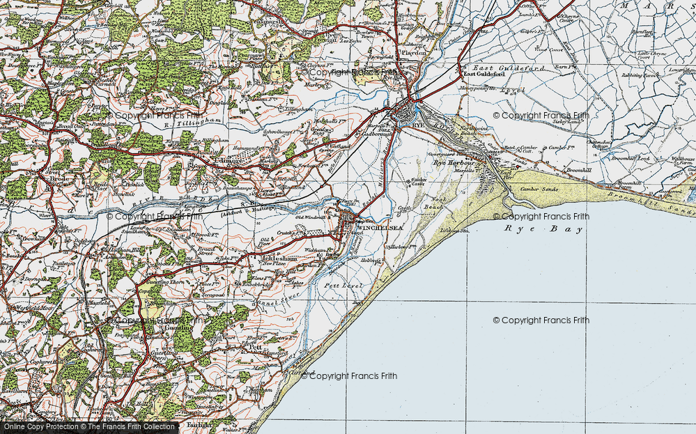 Old Map of Winchelsea, 1921 in 1921
