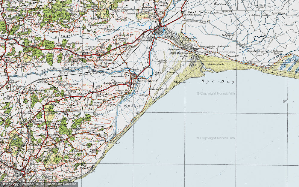 Old Map of Winchelsea Beach, 1921 in 1921