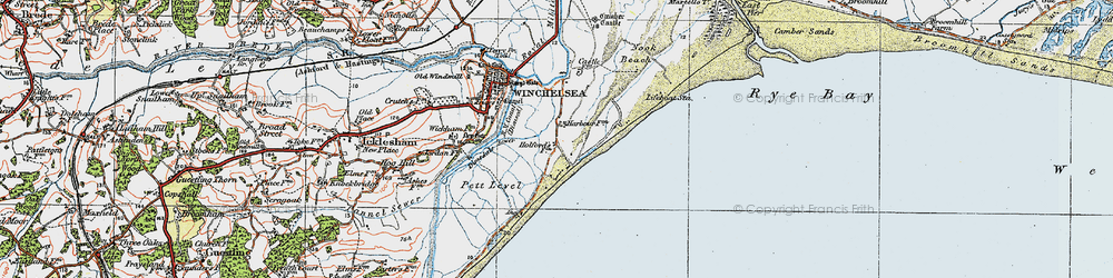 Old map of Winchelsea Beach in 1921