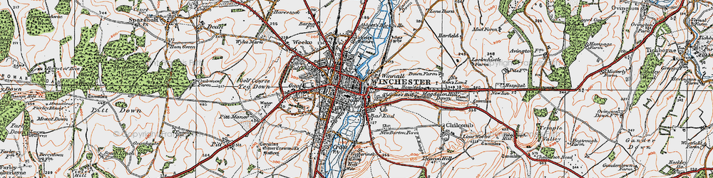 Old map of Winchester in 1919