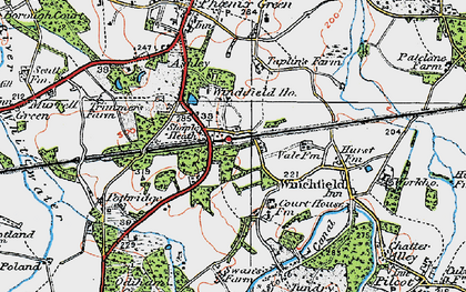 Old map of Winchfield in 1919