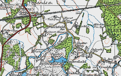 Old map of Winchfield Hurst in 1919