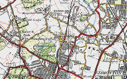 Old map of Winchmore Hill in 1920