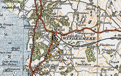Old map of Windermere in 1925