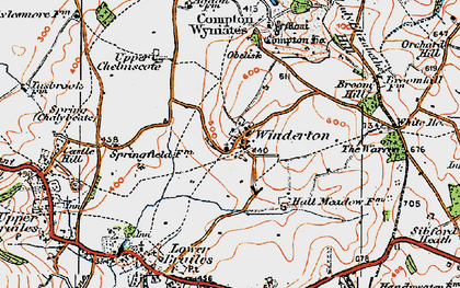 Old map of Winderton in 1919